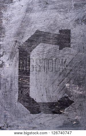 Black Grunge Alphabet. Letter C