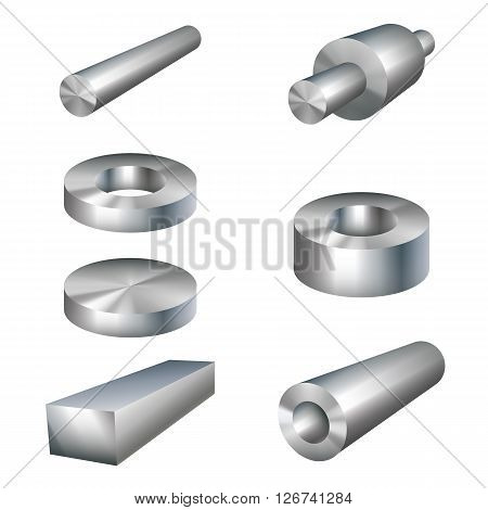 steel different products metal parts vector illustration