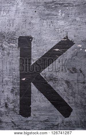 Black Grunge Alphabet. Letter K