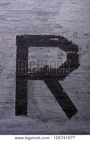 Black Grunge Alphabet. Letter R