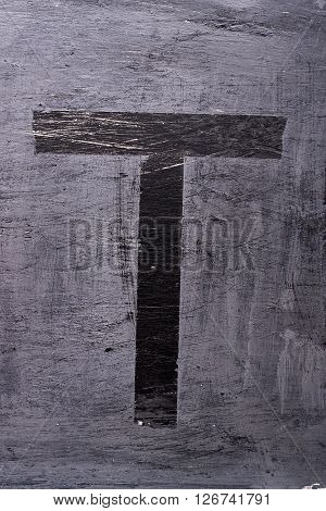 Black Grunge Alphabet. Letter T