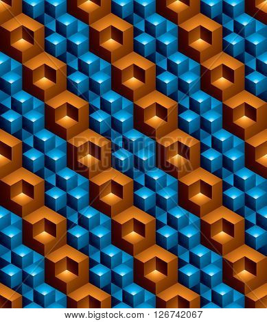 Futuristic continuous multicolored pattern illusive motif abstract background with 3d geometric figures.