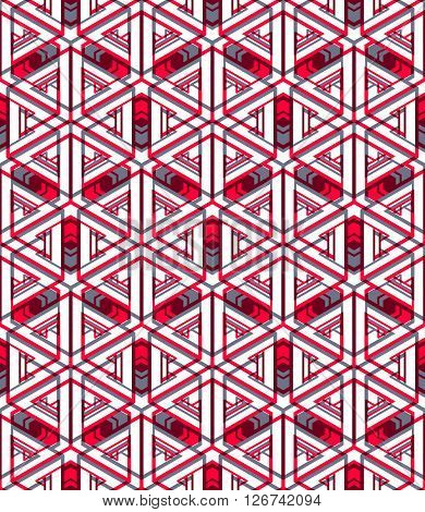 Red abstract interweave geometric seamless pattern. Bright illusory backdrop with three-dimensional intertwine figures. Graphic contemporary covering.
