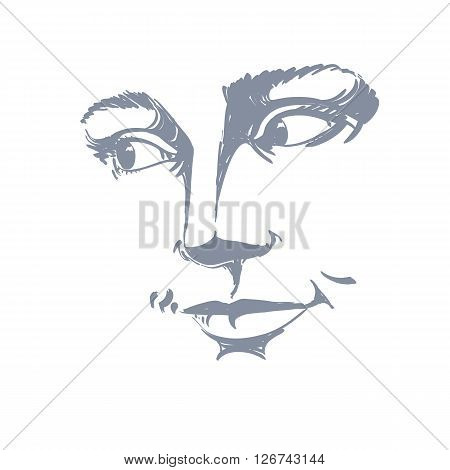 Portrait Of Delicate Good-looking Dreamy Still Woman, Black And White Vector Drawing. Emotional Expr
