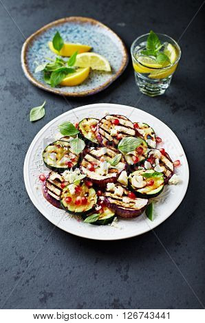 Grilled Zucchini and Aubergine with Feta, Pomegranate Seeds and Toasted Cashews