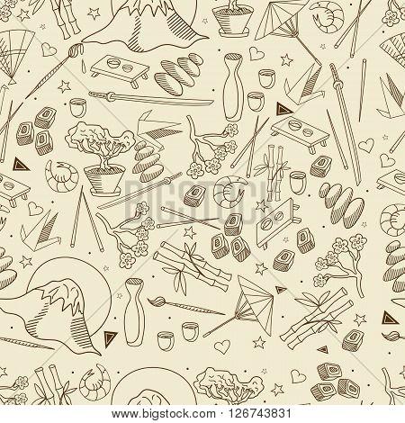 Japan seamless retro line art design vector illustration. Separate objects. Hand drawn doodle design elements.
