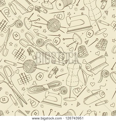 Sewing accessories seamless retro line art design vector illustration. Implement separate objects. Hand drawn doodle design elements.