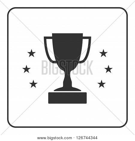 Trophy cup with stars icon. Award sport sign. Symbol of winner competition champion best victory emblem. Black sign in frame on white background. Isolated flat design element. Vector illustration.