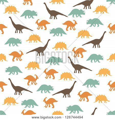 Vector illustration. Seamless ornament background made of silhouettes of dinosaurs of different species on a light background.
