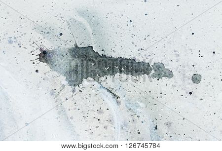 abstract painting with blurry and stained structure. Painting on paper