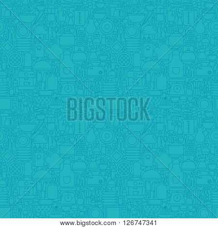 Thin Line Blue Kitchenware And Cooking Seamless Pattern