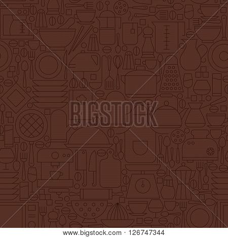 Thin Line Brown Kitchenware And Cooking Seamless Pattern