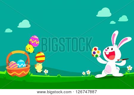 cartoon illustration of cute white rabbit and chicks preparing easter eggs