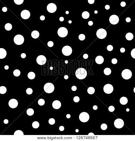 Polka dots seamless pattern. Black and white template. Abstract geometric round texture. Big and small circles. Retro Vintage. Design template wallpaper wrapping fabric textile. Vector Illustration
