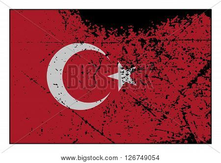 Turkey Flag Grunged