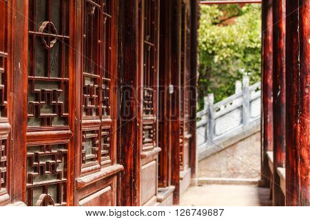 Traditional Chinese half timbered Architecture in Lijiang Old Town, Yunnan ** Note: Shallow depth of field