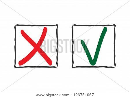 Check mark icons. Tick and cross red green signs in frames isolated on white background. Symbol vote survey exam question. Right or wrong choice. Ok or No web design element. Vector illustration.