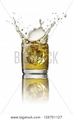 Ice cube make a splash in alcoholic drink