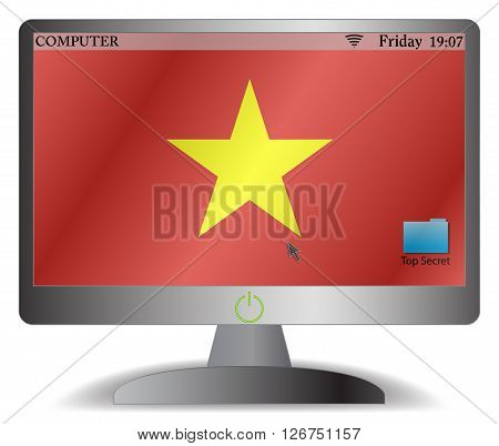 Vietnam Computer Screen With On Button