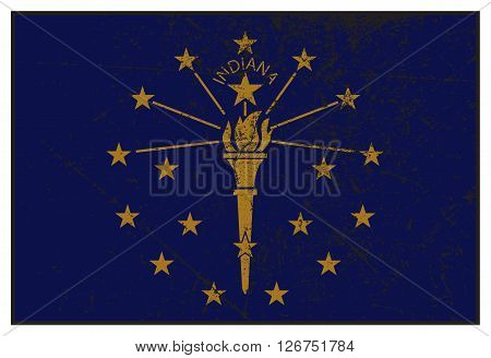 Indiana State Flag Grunged