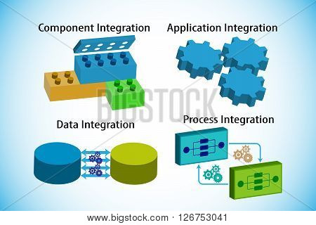 Concept of software integration types, this also represents application , data , component and business process integrations