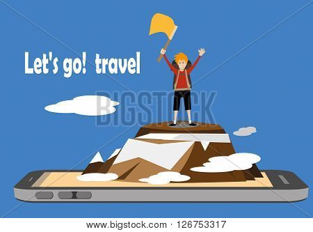 male hiker standing on top of a mountain and waving flag on a smartphone mobile screen. travel adventure concept vector
