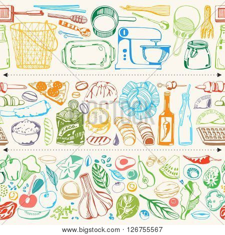 Hand drawn elements for cooking, vegetables, restaurant and vegetarian food. Seamless background. Vector illustration. Kitchen tools