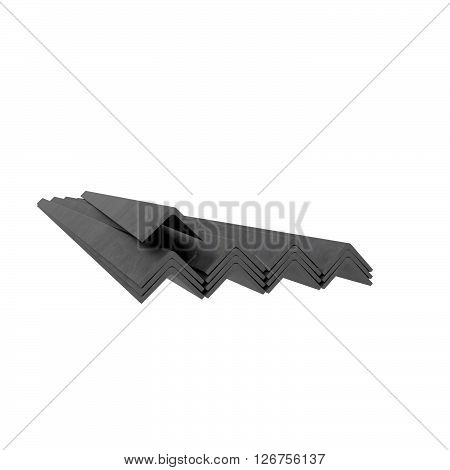 Corner metal bars stack at white background