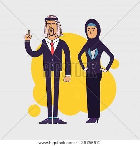 illustration of the arabic business team. Couple of the arabic businessman and businesswoman wearing hijab. Linear flat design