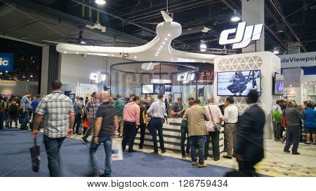 LAS VEGAS - April 18, 2016: DJI booth at NAB 2016, an annual trade show by the National Association of Broadcasters.1700+ exhibitors on 2000000 sq feet space of Las Vegas Convention Center.