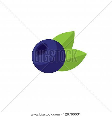 Blueberries with leaves isolated on white background. Icon blueberries.
