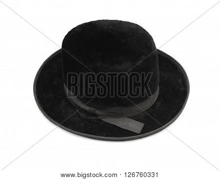 Traditional men jewish felt hat isolated at white