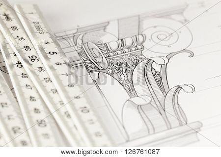 architectural drawing - detail column & folding ruler