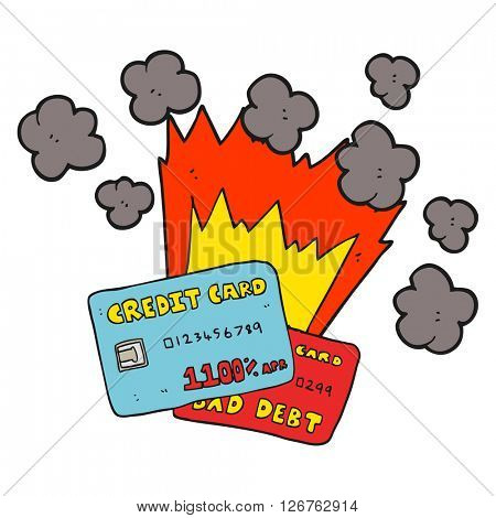 freehand drawn cartoon credit card debt