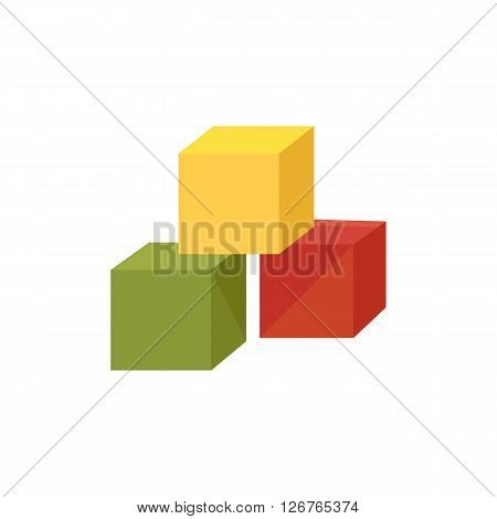 Baby colored cubes web icon for website logo three-dimensional shape on isolated background