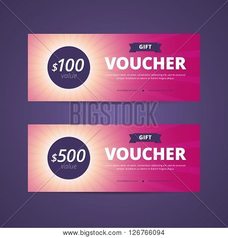 Gift vouchers with 100 and 500 dollars value. Sunlight background with rays. Vector illustration for print or web project.