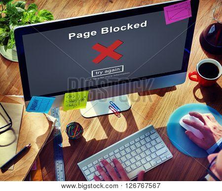 Page Blocked Error Data Internet Online Technology Concept