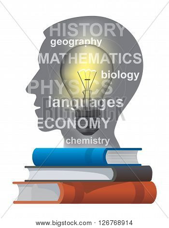 Stylized male head silhouette with textbooks. Vector illustration.