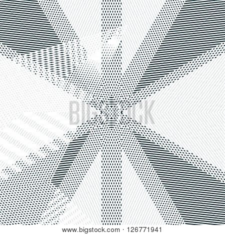 Moire style gradient optical pattern motion effect tile. Decorative lined hypnotic contrast vector background.