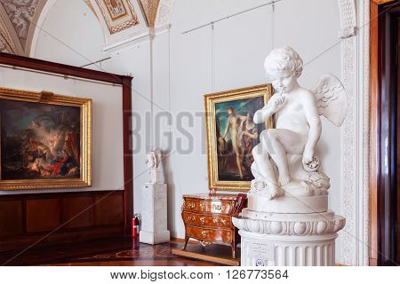 SAINT PETERSBURG RUSSIA - APRIL 07 2016: One of the room in the State Hermitage (Winter Palace). Hermitage is one of the largest and oldest museums of art and culture in the world