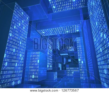Tunnel composed by zeros and ones in a concept of cloud computing data storage and processing.