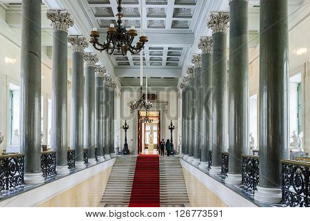 SAINT PETERSBURG, RUSSIA - MARCH 03, 2016:  Interior with stairs of the State Hermitage (Winter Palace). Hermitage is one of the largest and oldest museums of art and culture in the world