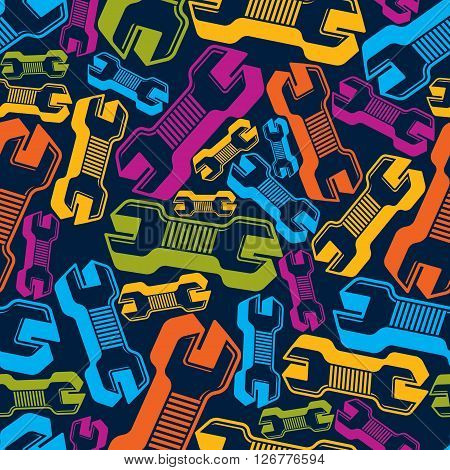 Continual vector background with classic wrenches. Work tools simple spanners.