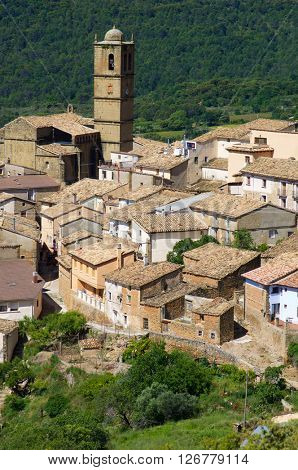 Aguero village in Huesca Province, Aragon, Spain.