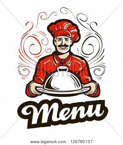 restaurant menu vector logo. cafe, diner or chef icon