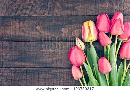 Frame Of Tulips On Dark Rustic Wooden Background. Spring Flowers. Spring Background. Valentine's Day