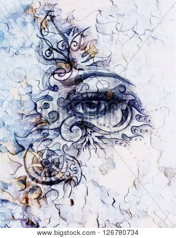 woman eyes with ornament, pencil drawing, eye contact. Crackle effect and Computer collage