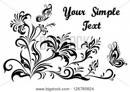 Vintage Calligraphic Floral Patterns, Symbolical Flowers And Butterflies, Black and Grey Silhouettes Isolated on White Background. Vector