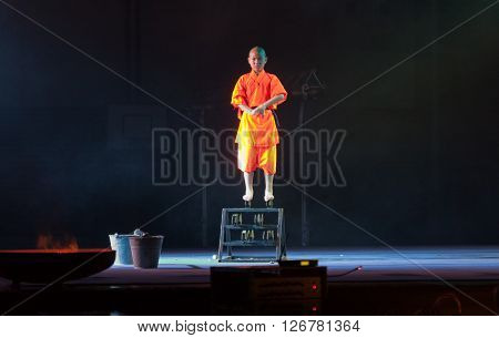 BRNO, CZECH REPUBLIC-APRIL 11,2016: Show The Mystical Powers of The Shaolin Monks of China on April 11 ,2016 in City Hall Vodova in  Brno in Czech Republic