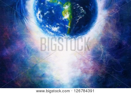Planet earth in light, Cosmic Space background. Original painting on canvas. Earth concept